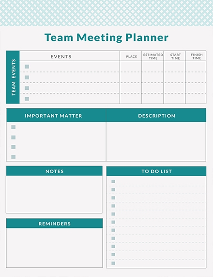 free team meeting planner template example