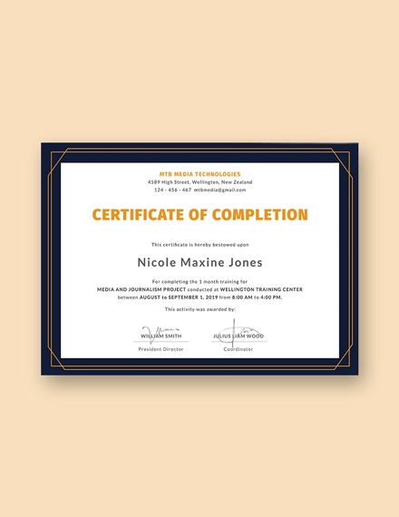 free training completion certificate sample