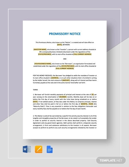 general promissory note template