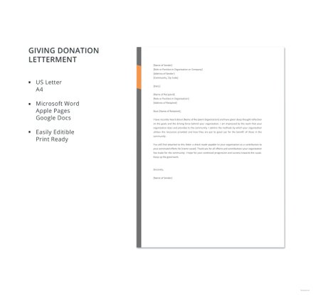 Giving Donation Letter