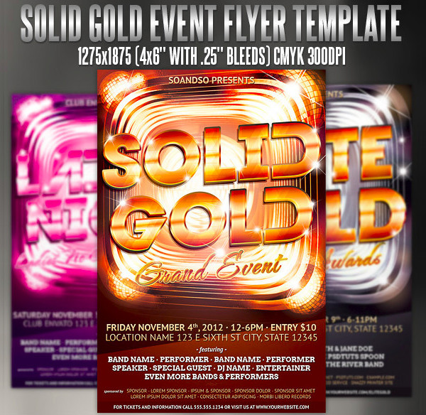 gold event flyer template