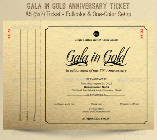gold gala anniversary ticket example
