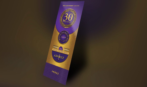 gold and violet anniversary ticket example