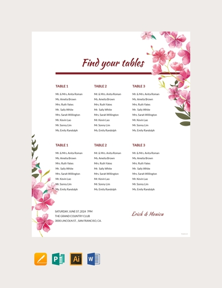 Gorgeous Table Seating Chart Template