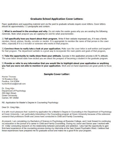 graduate school application cover letter