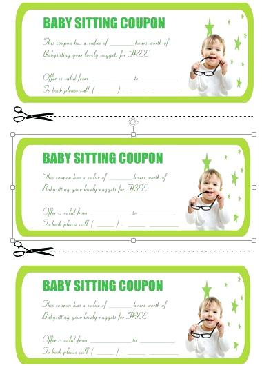 green baby sitting coupon template example