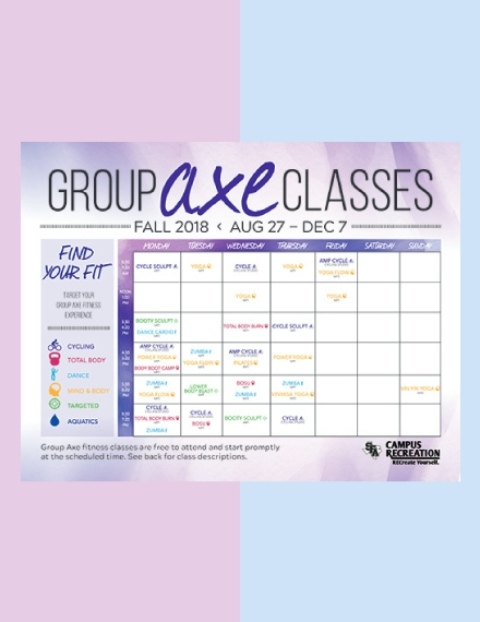 Group AXE Workout Schedule