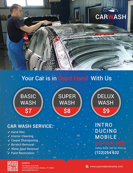 hand car wash flyer sample