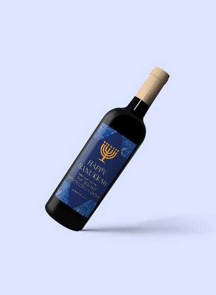 hanukkah wine bottle label template