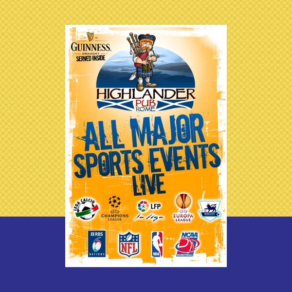 highlander pub sports event flyer