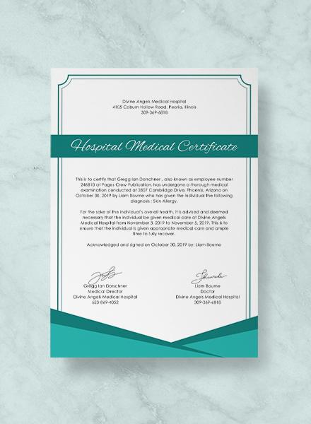 Hospital Medical Certificate