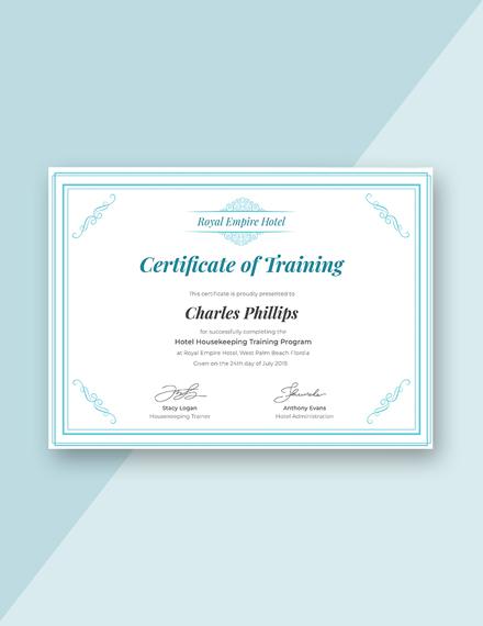 hotel training certificate design