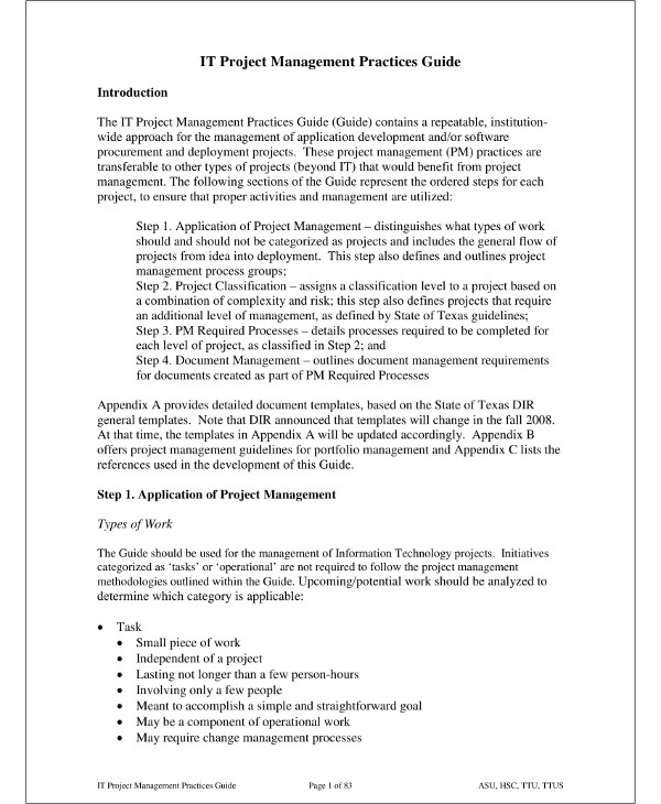 it project management plan guide example1