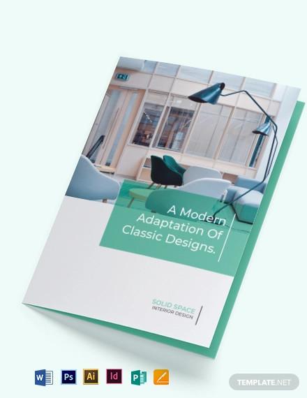 interior design company bi fold brochure template