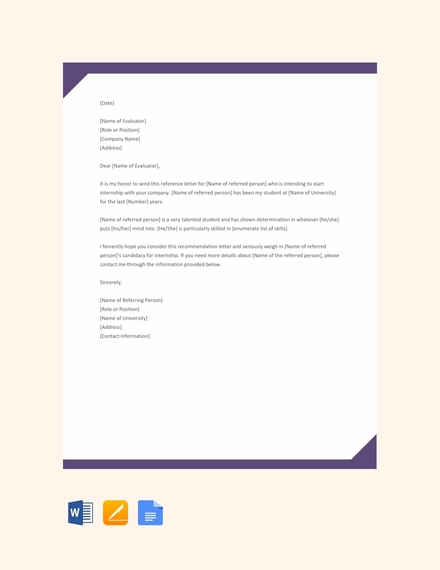 internship reference letter template