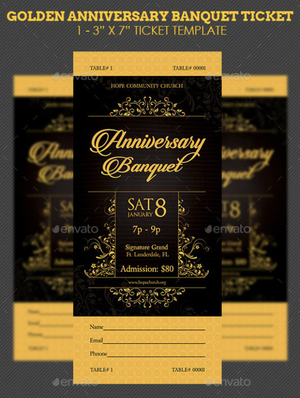 intricate golden anniversary banquet ticket example