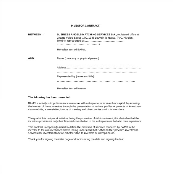 investor contract agreement template example