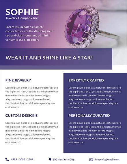 jewelry store datasheet template