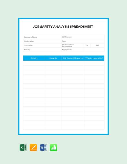 job safety analysis spreadsheet
