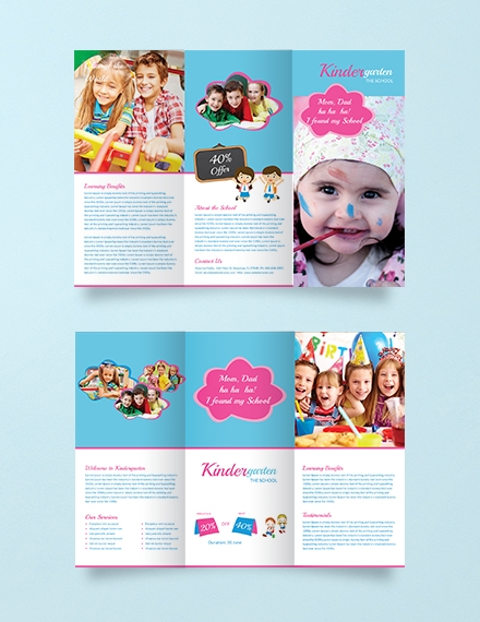 Kindergarten Education Tri Fold Brochure Template Example