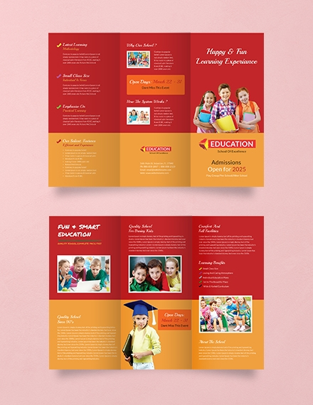Kindergarten Tri Fold Brochure Design Template Example