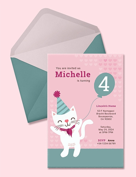 kitty birthday invitation sample