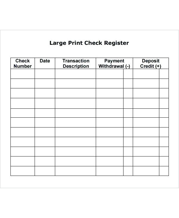 large print personal checkbook register example
