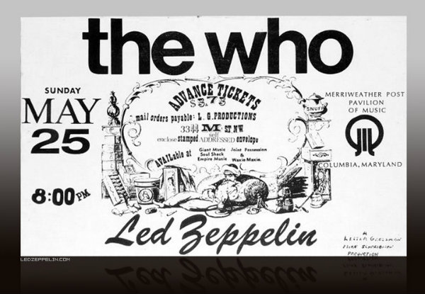 Led Zeppelin Merriweather Post Pavilion of Music Flyer