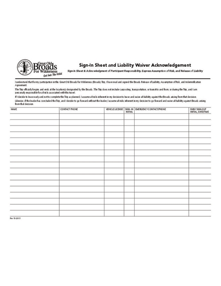 liability waiver sign in sheet design