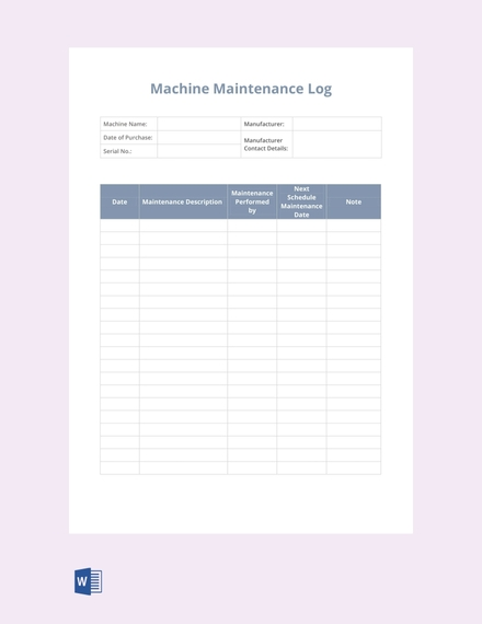 machine maintenance log