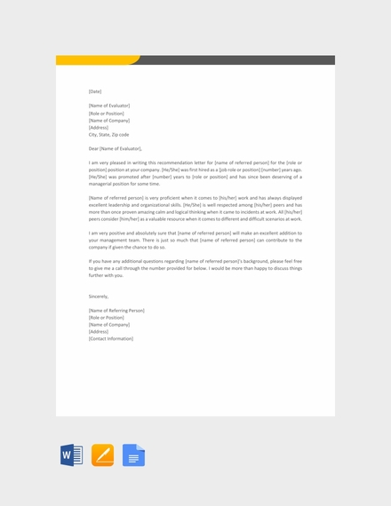 manager reference letter template