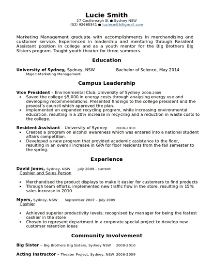 marketing management corporate resume