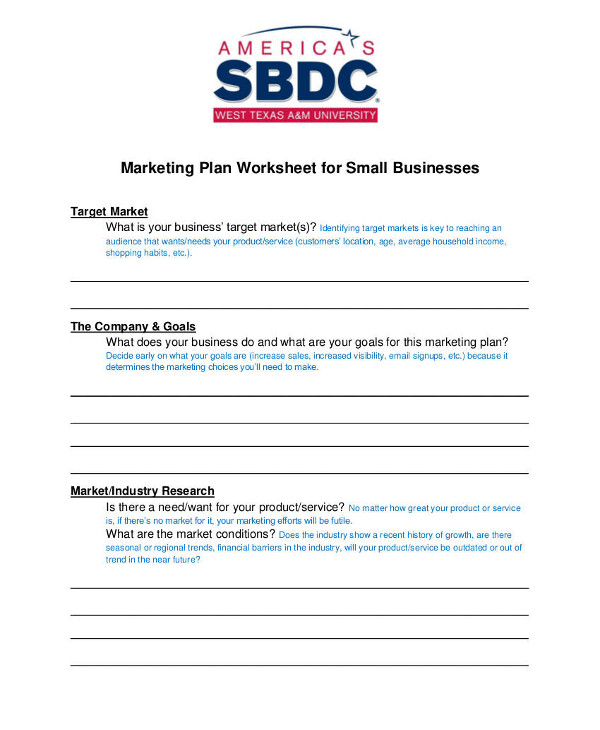marketing plan worksheet for small businesses example1
