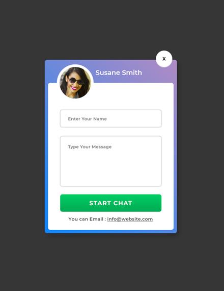 marketing website chat pop up design