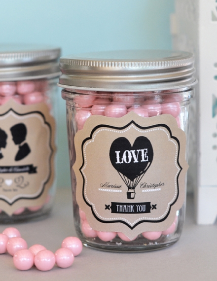 mason jar wedding label example