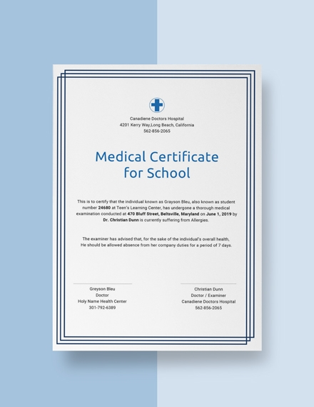 medical certificate for school