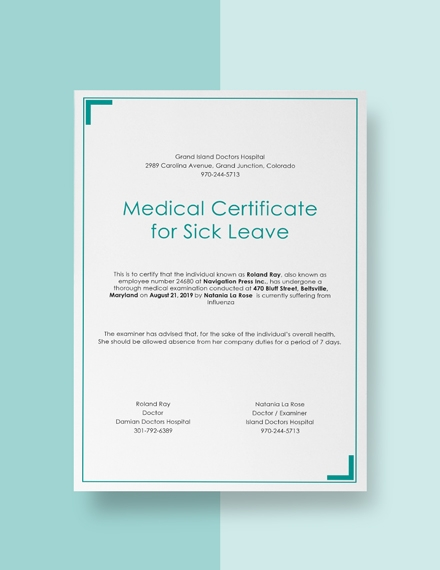 medical certificate for sick leave