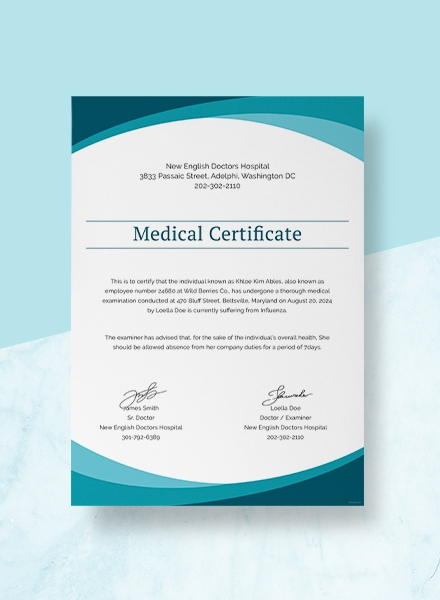 medical certificate from doctor template