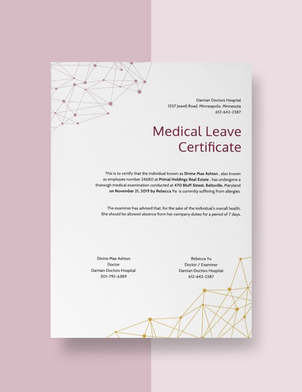 medical leave certificate