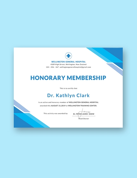 Medical Membership Certificate