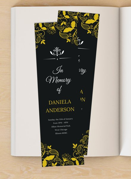 memorial bookmark template