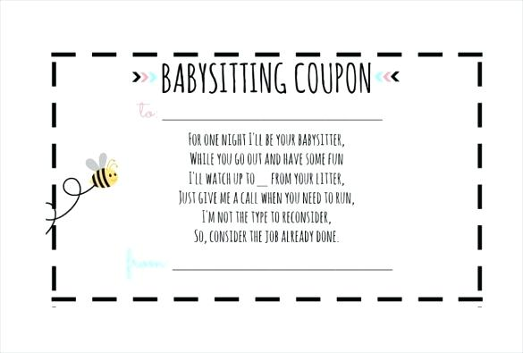 minimal babysitting coupon template example