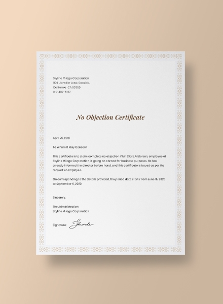 mock up no objection certificate for employee template