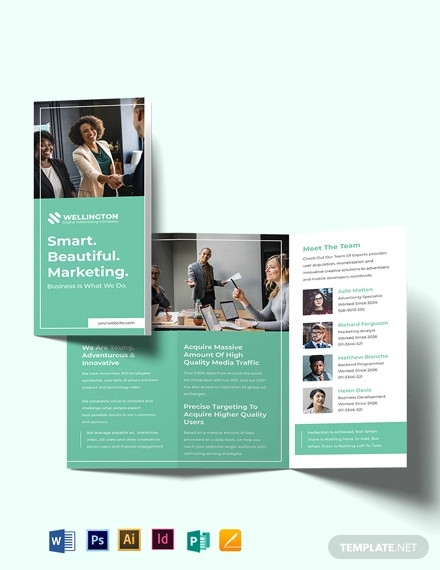 modern advertising company tri fold brochure template