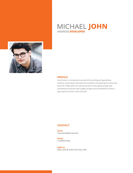 modern android developer resume template
