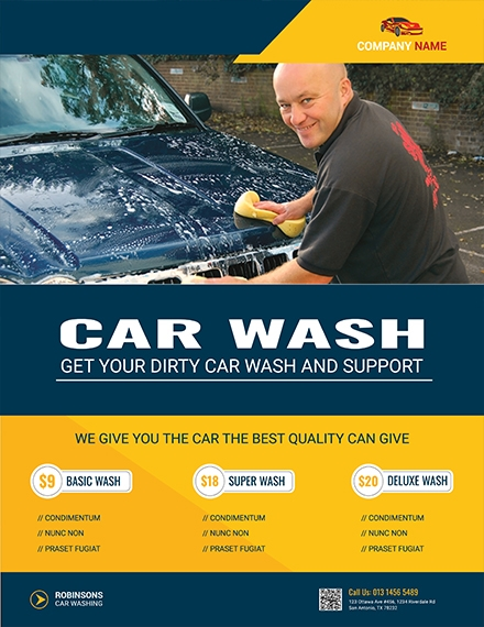 modern car wash flyer design