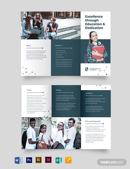 modern education tri fold brochure template