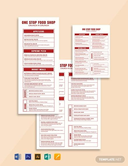 modern food and drinks menu template