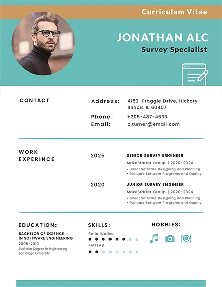 modern free surveyor cv template