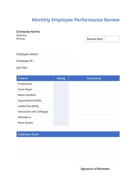 monthly employee review template